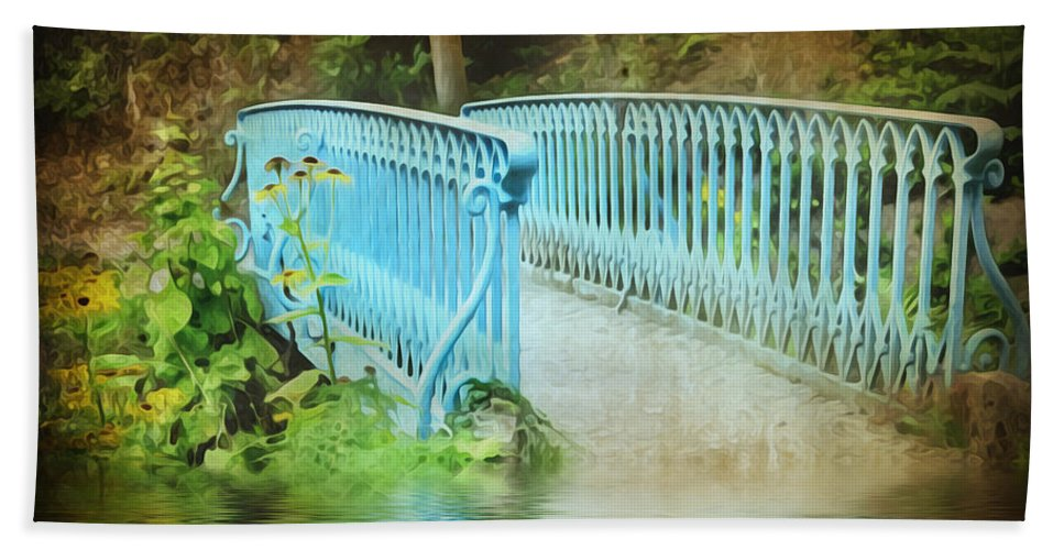 Background Hand Towel featuring the photograph Blue Bridge by Svetlana Sewell