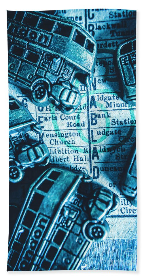 British Bath Towel featuring the photograph Blue Britain Bus Bill by Jorgo Photography - Wall Art Gallery