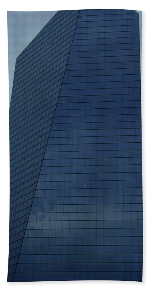 City Bath Towel featuring the photograph Blue Building by Linda Sannuti