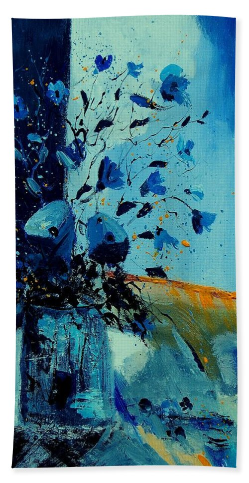 Flowers Hand Towel featuring the painting Blue Bunch 45 by Pol Ledent