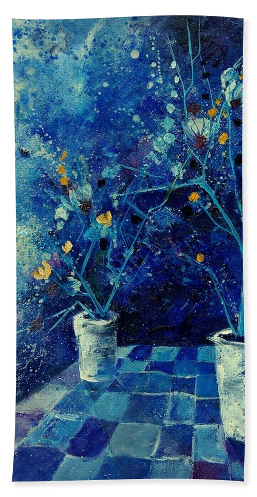 Flowers Hand Towel featuring the painting Blue Bunch by Pol Ledent
