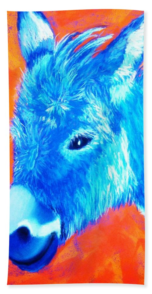 Burro Bath Towel featuring the painting Blue Burrito by Melinda Etzold