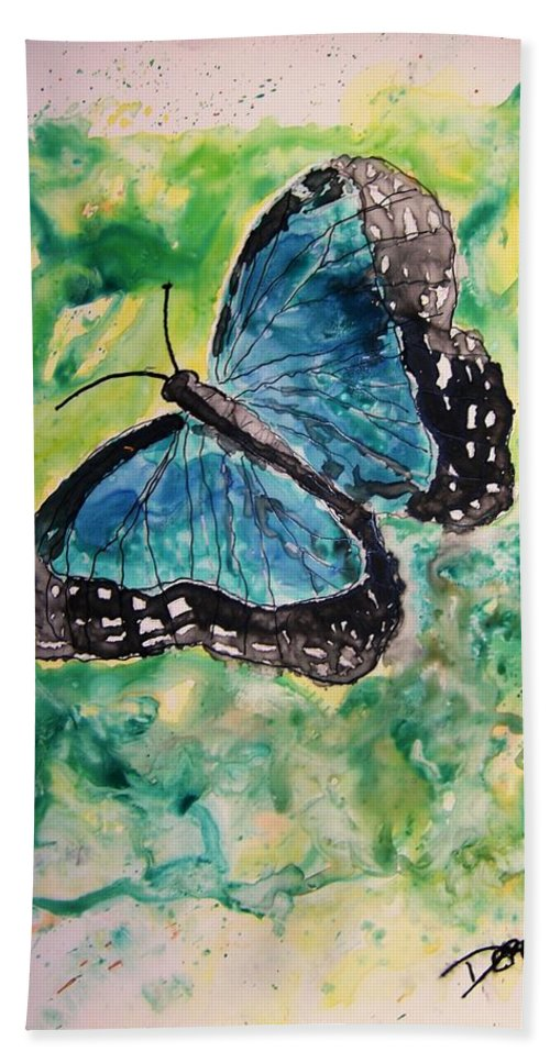 Wildlife Hand Towel featuring the painting Blue Butterfly by Derek Mccrea