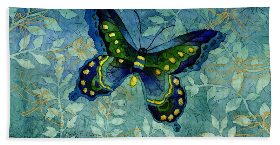 Butterfly Hand Towel featuring the painting Blue Butterfly by Hailey E Herrera