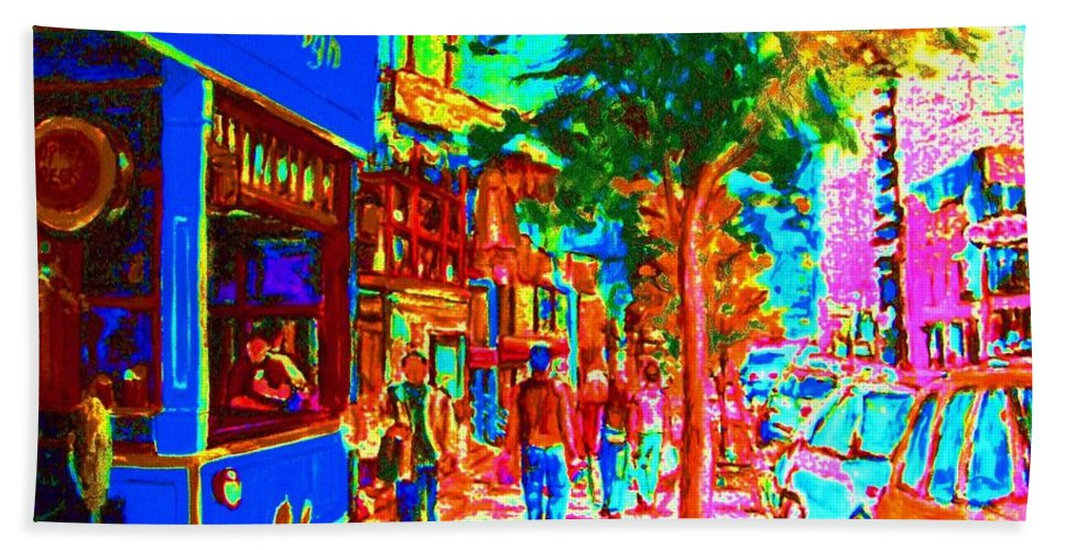 Cafes Bath Towel featuring the painting Blue Cafe In Springtime by Carole Spandau