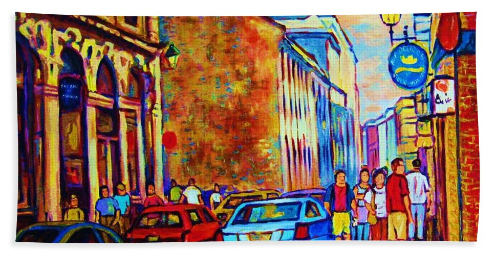 Montreal Bath Towel featuring the painting Blue Cars At The Resto Bar by Carole Spandau
