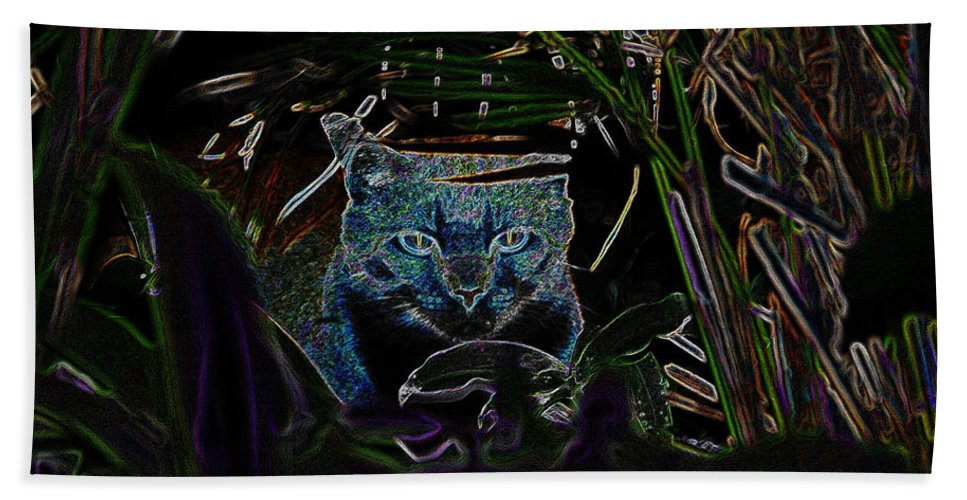 Art Hand Towel featuring the painting Blue Cat In The Garden by David Lee Thompson