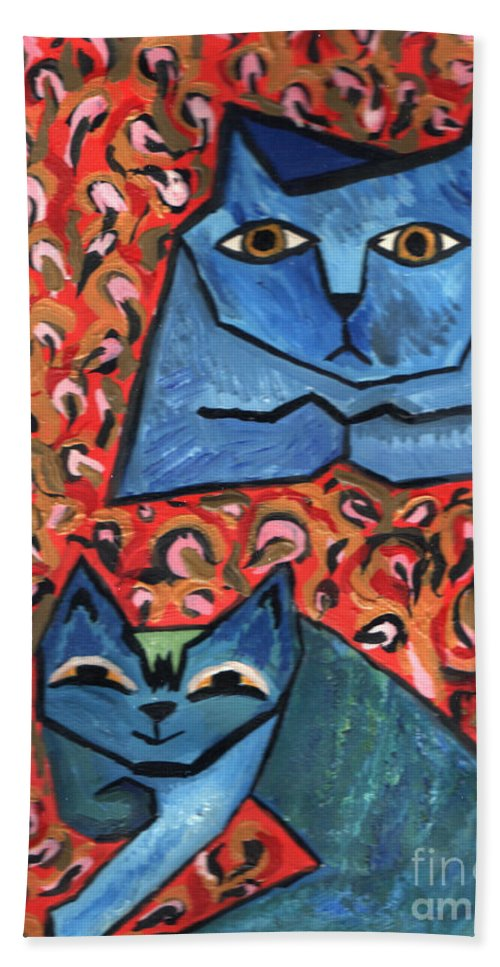 Cat Bath Sheet featuring the painting Blue Cats by Heather Lennox