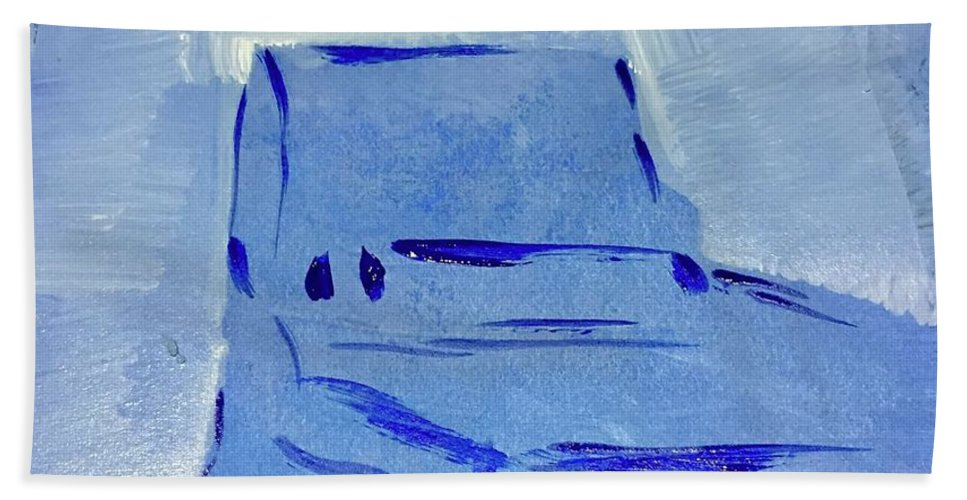 Chair Hand Towel featuring the digital art Blue Chair by Mary Jo Hopton
