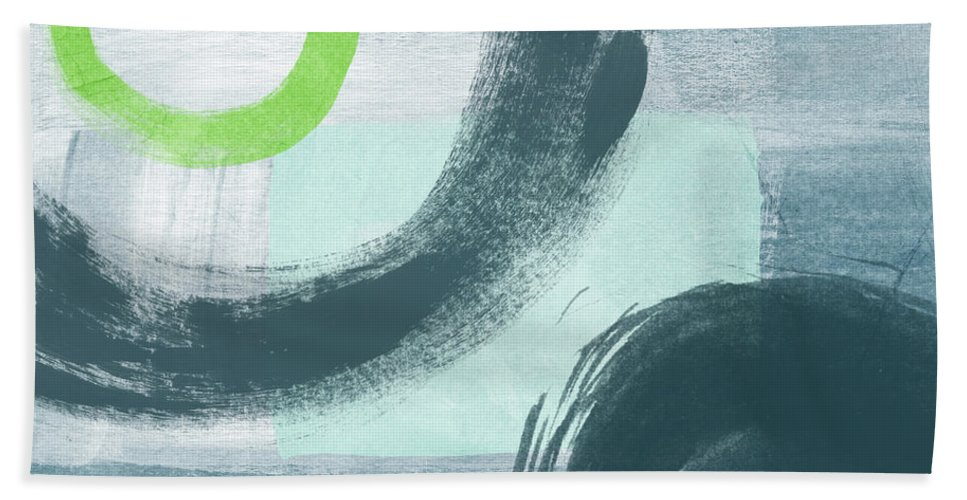 Abstract Hand Towel featuring the painting Blue Circles 1- Art By Linda Woods by Linda Woods