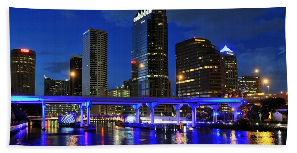 Tampa Bay Florida Hand Towel featuring the photograph Blue City by David Lee Thompson