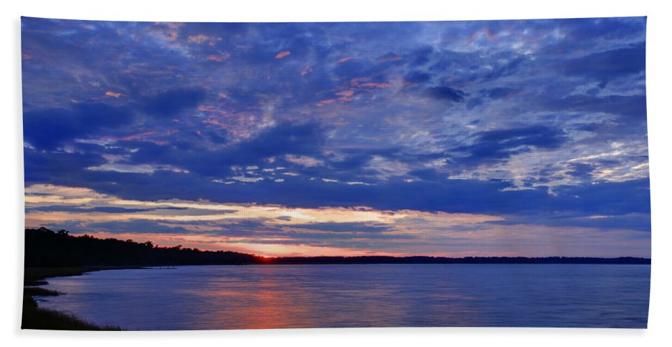 Blue Hand Towel featuring the photograph Blue Clouds by Phill Doherty