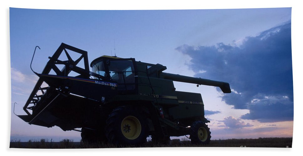 Farm Bath Sheet featuring the photograph Blue Combine by Jerry McElroy