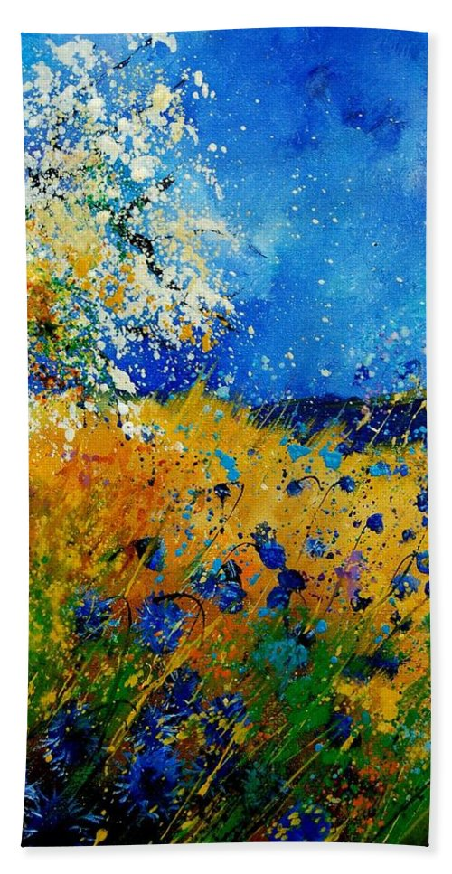 Poppies Bath Sheet featuring the painting Blue Cornflowers 450108 by Pol Ledent