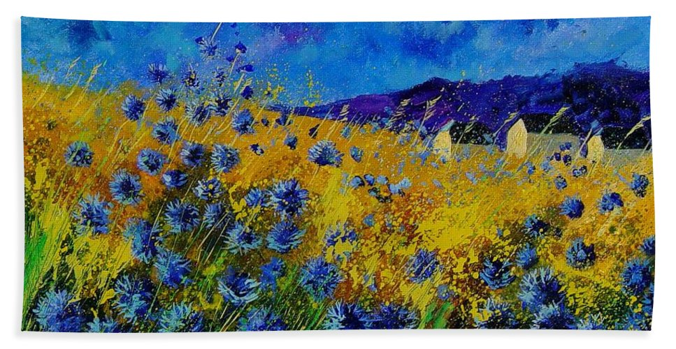 Poppies Bath Towel featuring the painting Blue cornflowers by Pol Ledent