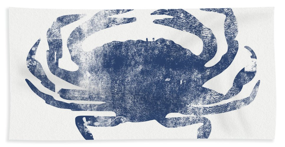 Cape Cod Bath Towel featuring the painting Blue Crab- Art by Linda Woods by Linda Woods