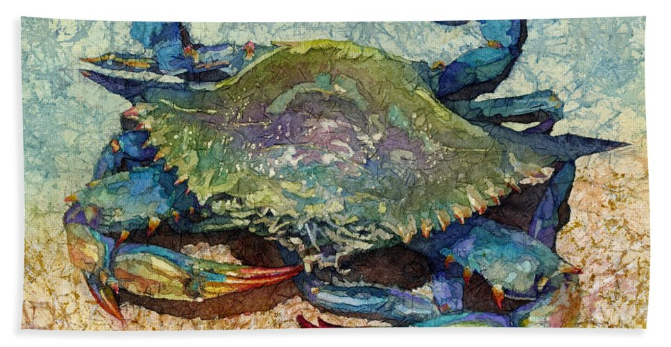 Crab Bath Towel featuring the painting Blue Crab by Hailey E Herrera