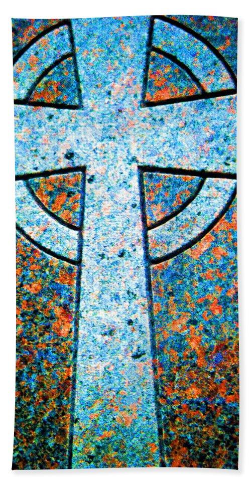 Cross Bath Sheet featuring the digital art Blue Marbled Cross by April Patterson