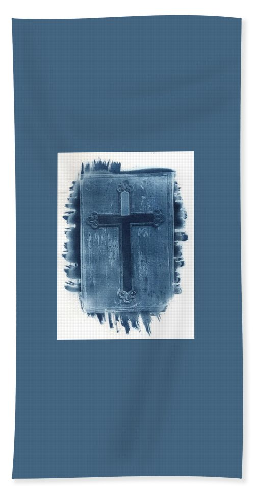 Cyanotype Hand Towel featuring the photograph Blue Cross by Jane Linders