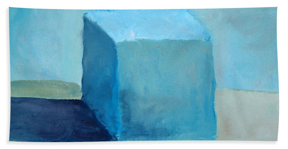 Blue Bath Sheet featuring the painting Blue Cube Still Life by Michelle Calkins