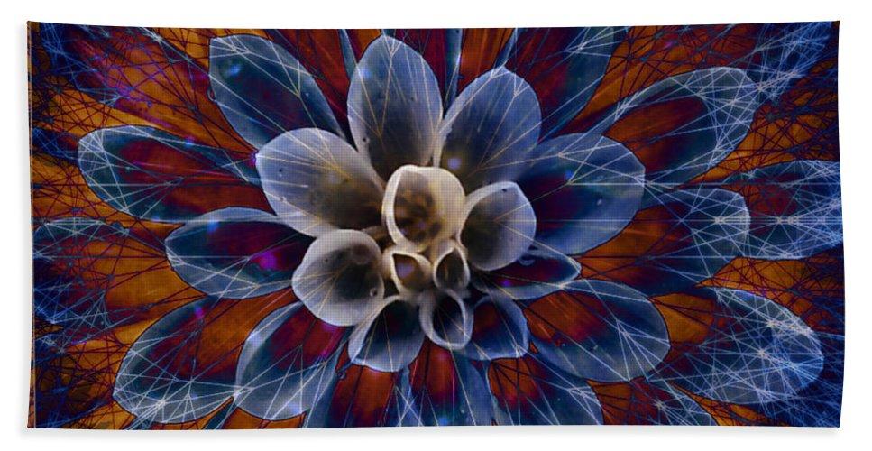 Flower Bath Sheet featuring the digital art Blue Dahlia by Barbara Berney
