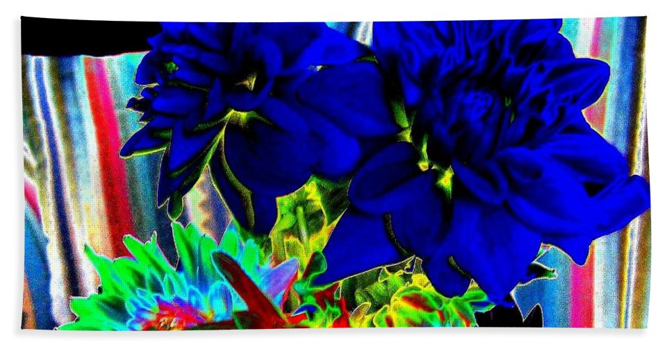 Abstract Hand Towel featuring the digital art Blue Dahlias by Will Borden