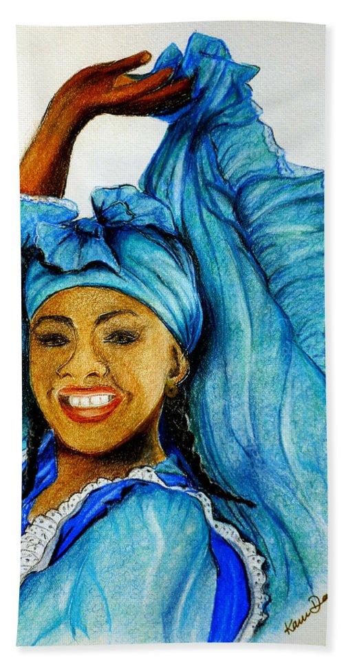 Blue Dancer Bath Towel featuring the pastel Blue Dancer by Karin Dawn Kelshall- Best