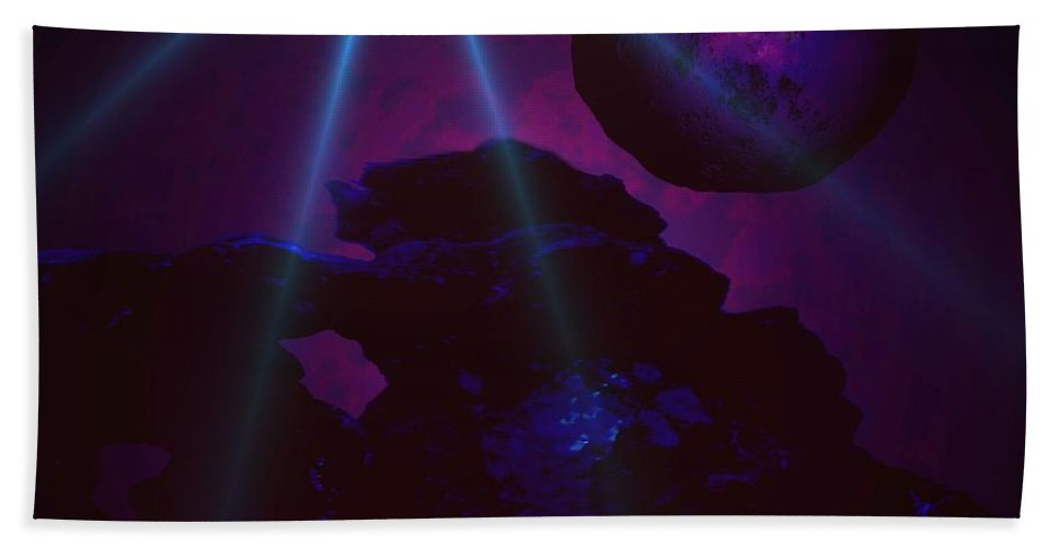 Planet Worlds Outterspace Space Star Alien Landscape Moon Sky Skies Clouds Blue Hand Towel featuring the digital art Blue Day by Andrea Lawrence