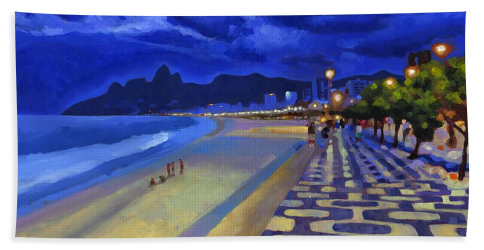 Ipanema Bath Towel featuring the painting Blue Dusk Ipanema by Douglas Simonson