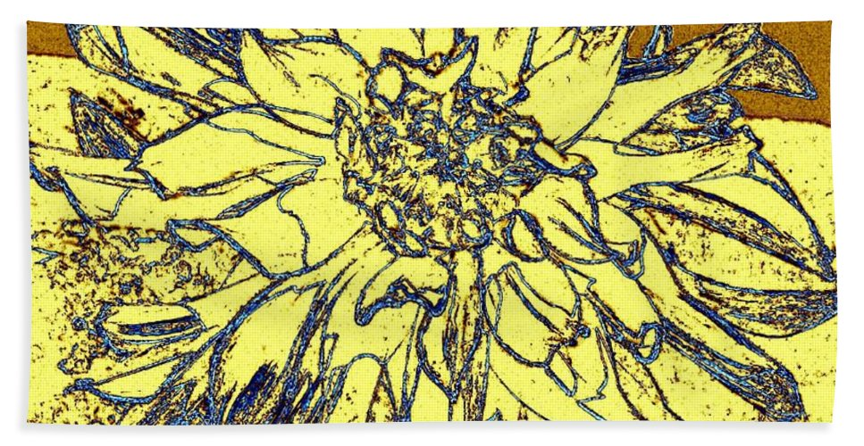 Abstract Hand Towel featuring the digital art Blue-edged Dahlia by Will Borden