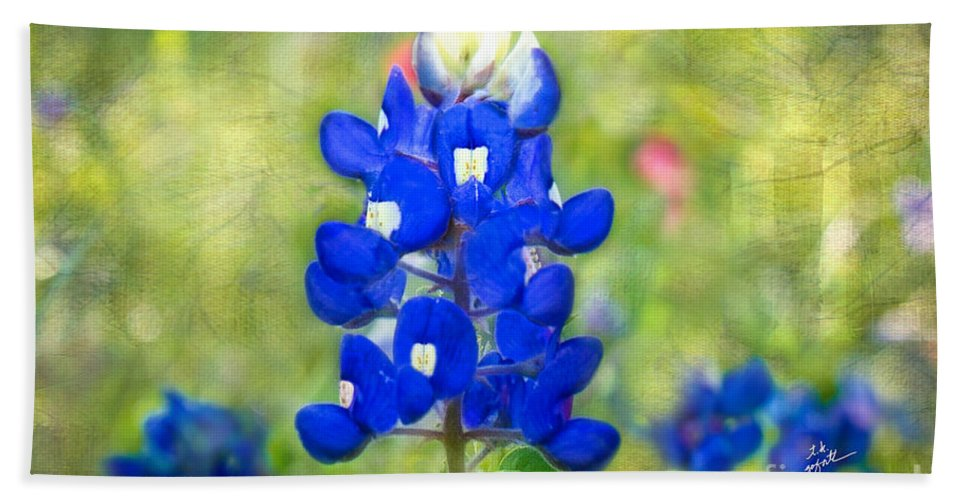 Bluebonnets Hand Towel featuring the photograph Blue-est Of Blues by TK Goforth