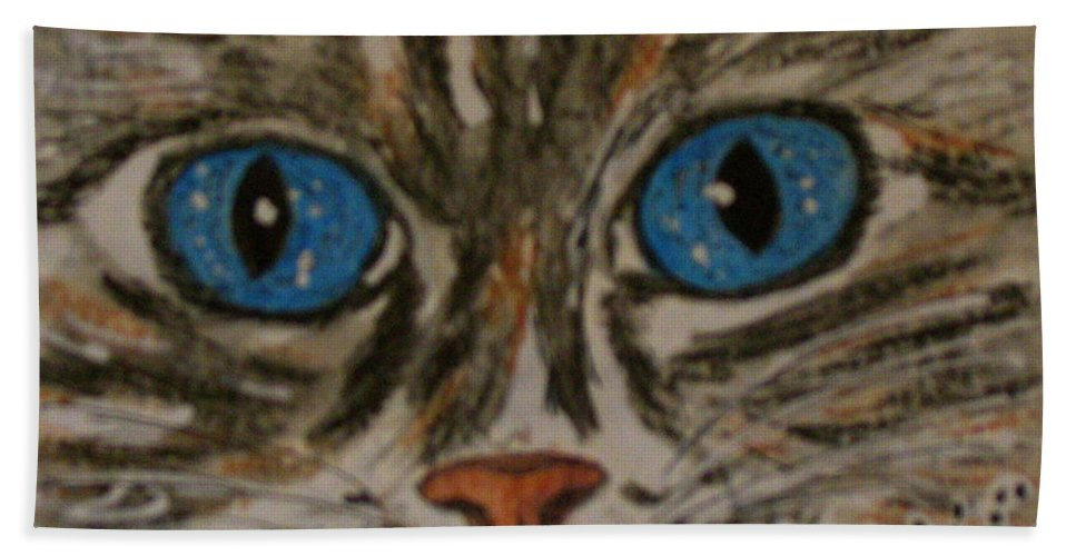 Blue Eyes Hand Towel featuring the painting Blue Eyed Tiger Cat by Kathy Marrs Chandler