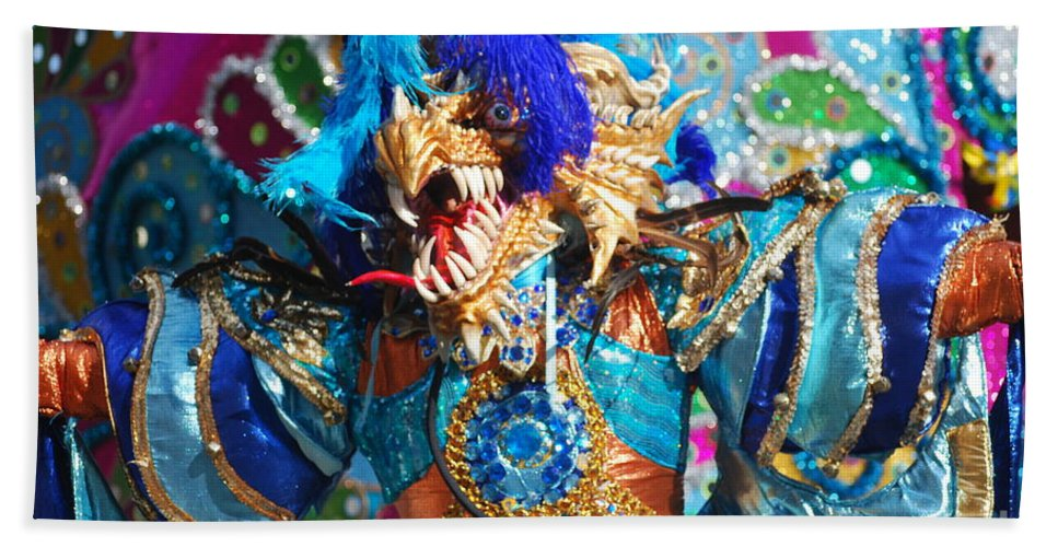 Carnival Bath Sheet featuring the photograph Blue Feather Carnival Costume And Colorful Background Horizontal by Heather Kirk