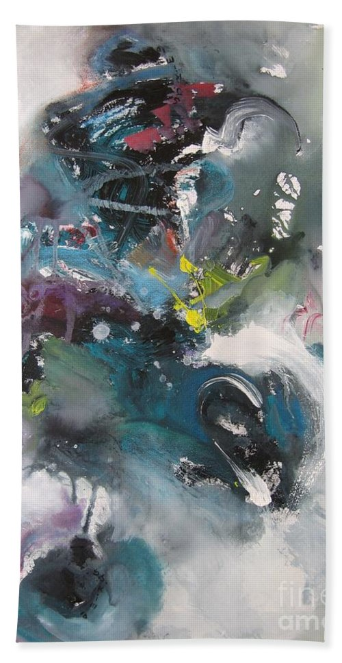 Abstract Paintings Hand Towel featuring the painting Blue Fever15 by Seon-Jeong Kim
