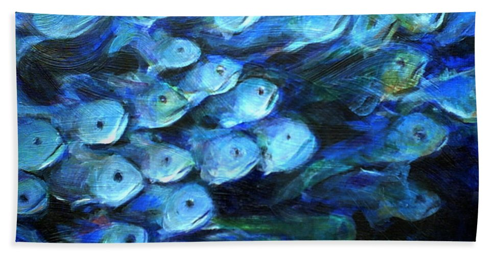 Blue Hand Towel featuring the painting Blue Fish by Nanci Cook