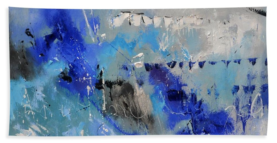 Abstract Bath Towel featuring the painting Blue Flight Abstract by Pol Ledent