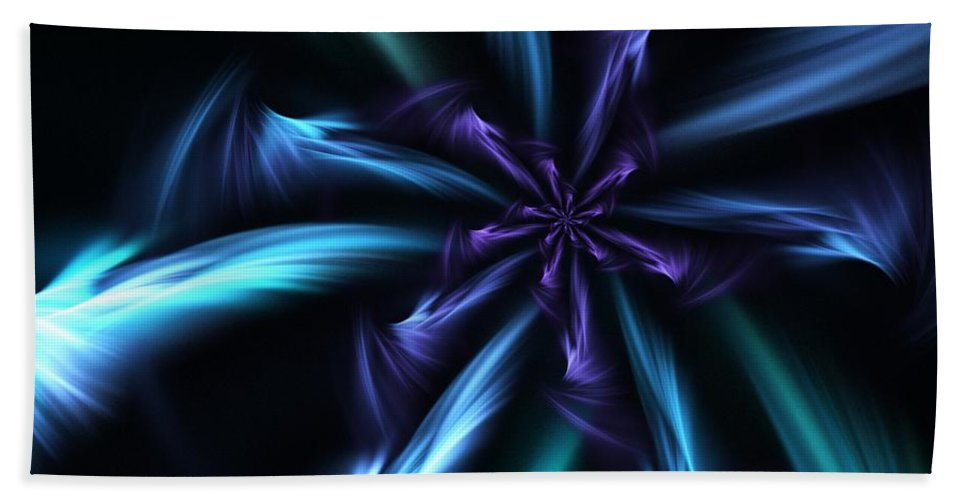 Fantasy Hand Towel featuring the digital art Blue Floral Fractal 12-30-09 by David Lane