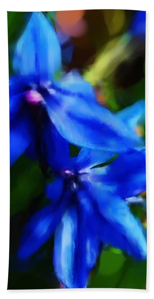 Digital Photograph Hand Towel featuring the photograph Blue Flower 10-30-09 by David Lane