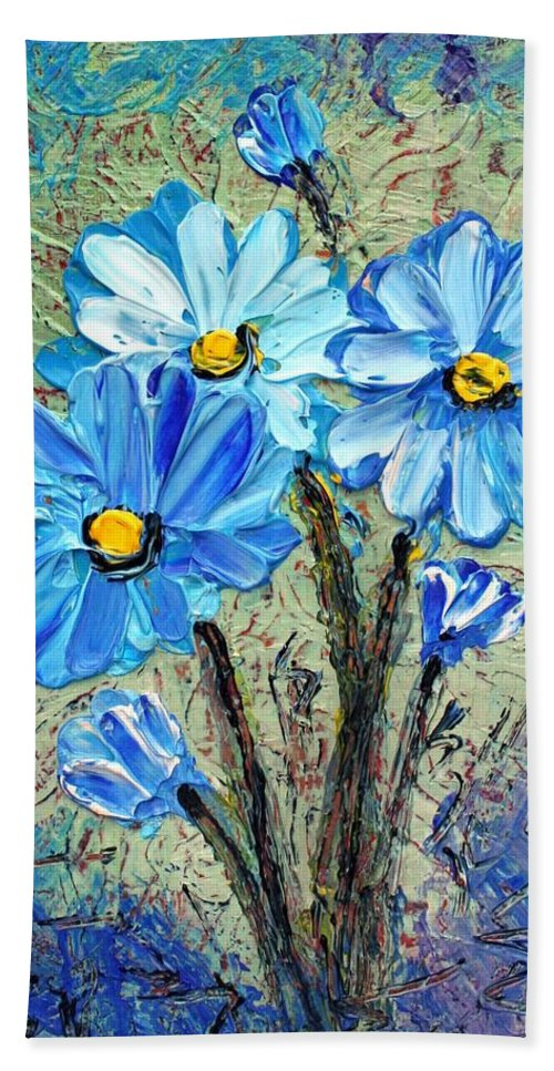 Flowers Bath Towel featuring the painting Blue Flowers by Luiza Vizoli