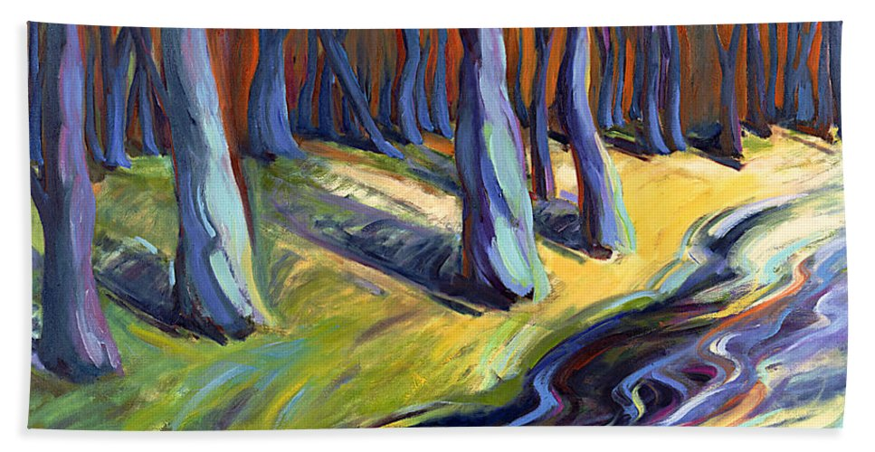 Konnie Bath Sheet featuring the painting Blue Forest by Konnie Kim