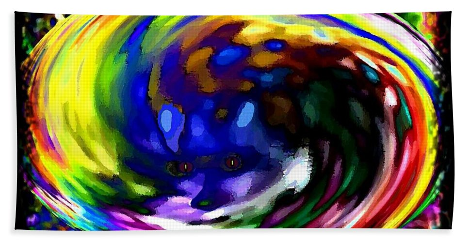 Abstract Hand Towel featuring the digital art Blue Fox by Will Borden