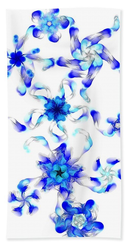 Digital Photograph Bath Towel featuring the digital art Blue Fractal Flowers by David Lane
