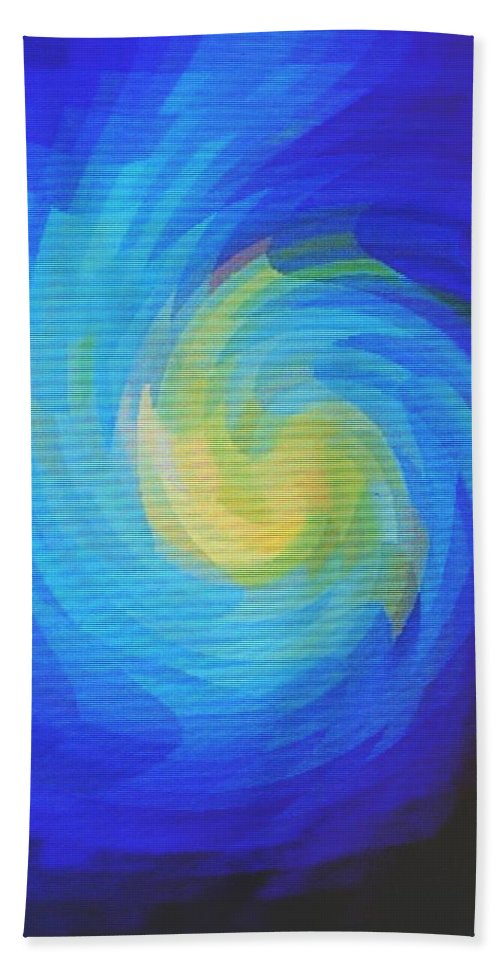 Blue Hand Towel featuring the digital art Blue Galaxy by Ian MacDonald