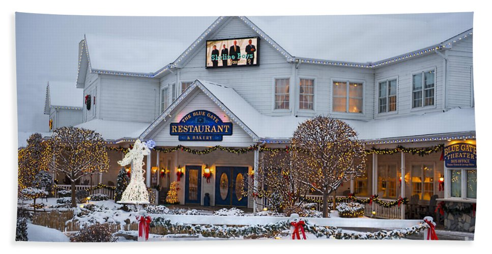 Blue Gate Restaurant Bath Sheet featuring the photograph Blue Gate Restaurant Shipshewana In Winter by David Arment