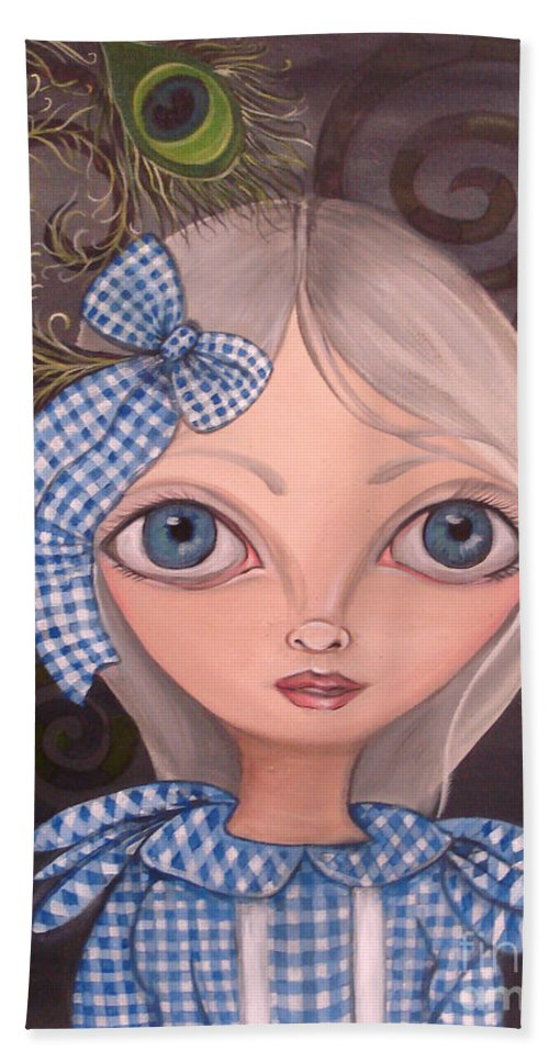 Art Hand Towel featuring the painting Blue Gingham And Peacock Feathers by Jaz Higgins