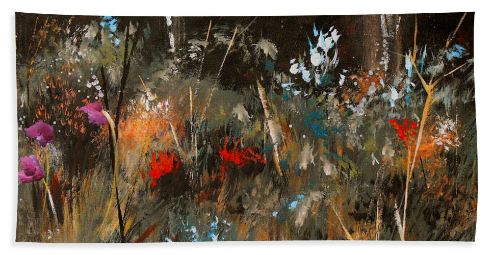 Abstract Hand Towel featuring the painting Blue Grass And Wild Flowers by Ruth Palmer