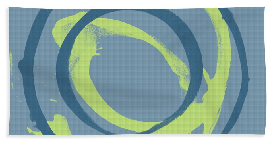 Green Hand Towel featuring the painting Blue Green 1 by Julie Niemela
