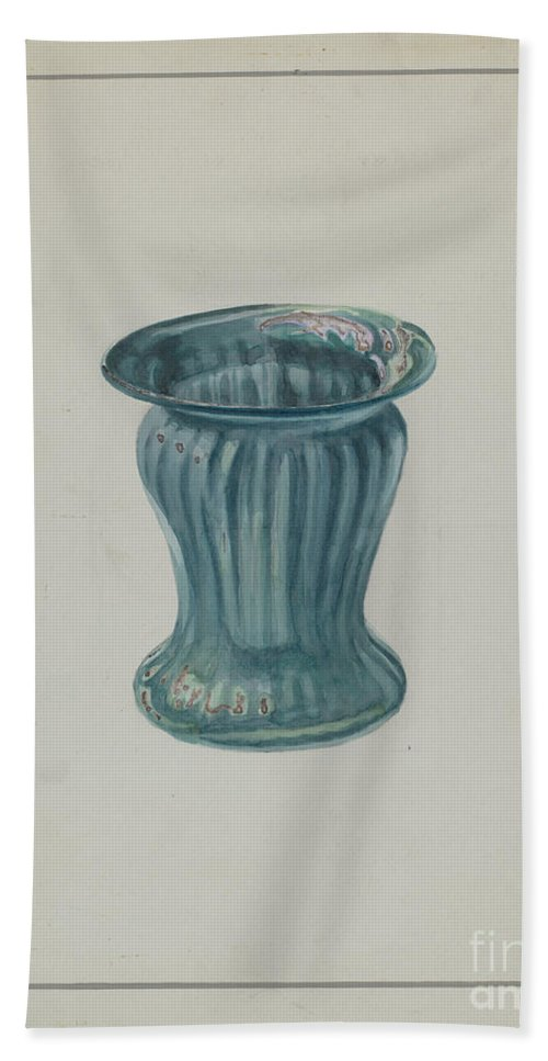 Hand Towel featuring the drawing Blue-green Vase by Marcus Moran