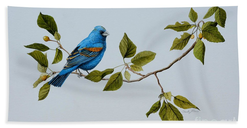 Bath Sheet featuring the painting Blue Grosbeak by Charles Owens