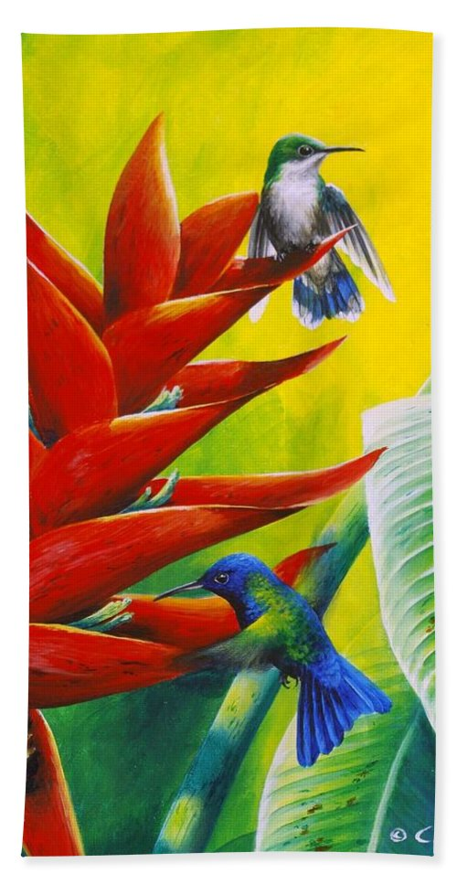 Chris Cox Bath Towel featuring the painting Blue-headed Hummingbirds And Heliconia by Christopher Cox